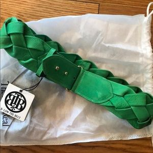 NWT B-Low The Belt Green Woven Leather Belt Size M